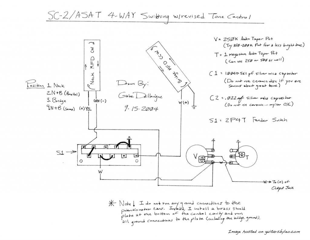 SC-2/ASAT 4-Way Switching with revised Tone Control wiring diagram on 4 way switch schematic, 4 way trailer wiring, 4 way solenoid schematic, 4 way diagram, 4 way wire,